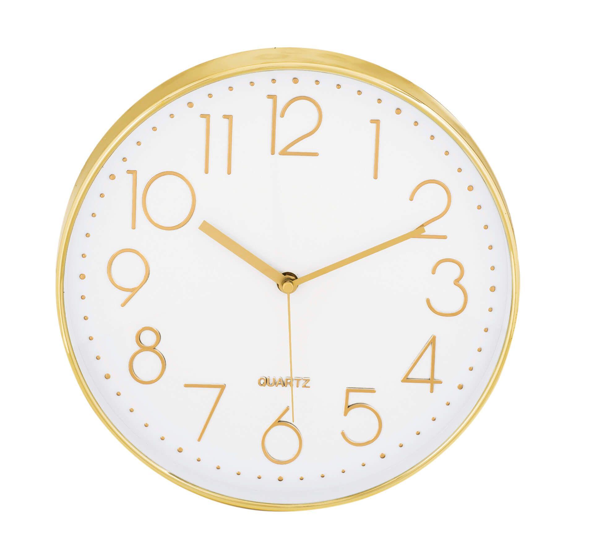 Relógio De Parede Branco e Dourado 30cm