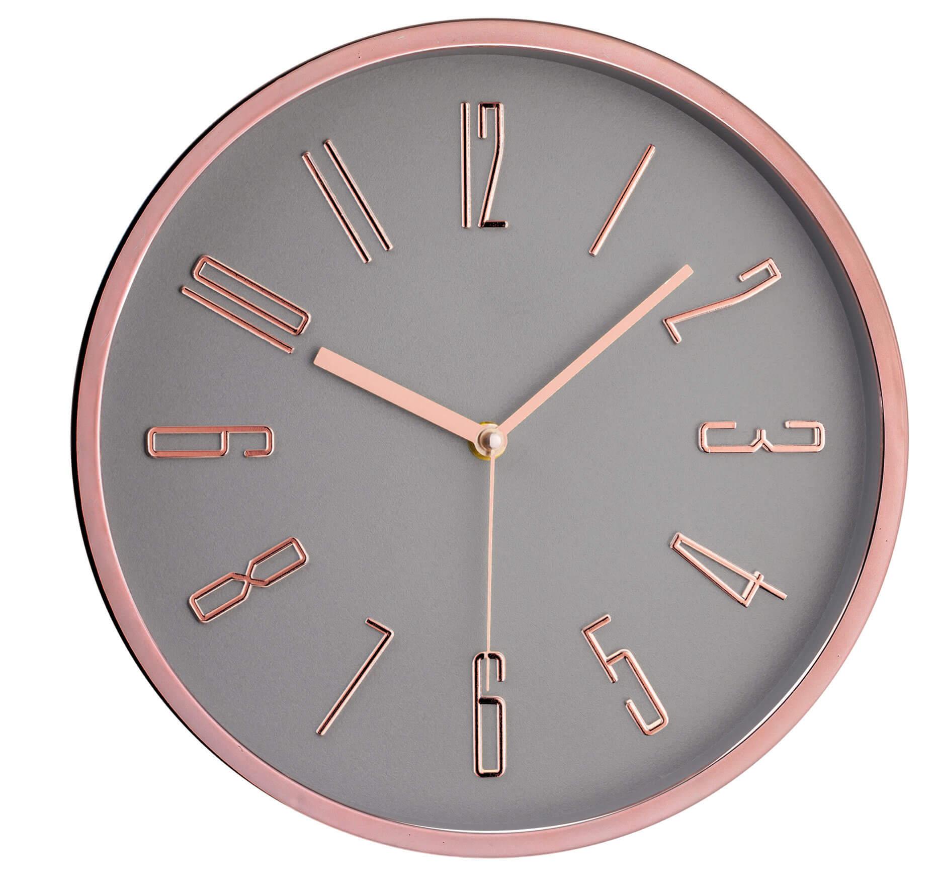 Relógio De Parede Cinza e Rose Gold 30cm