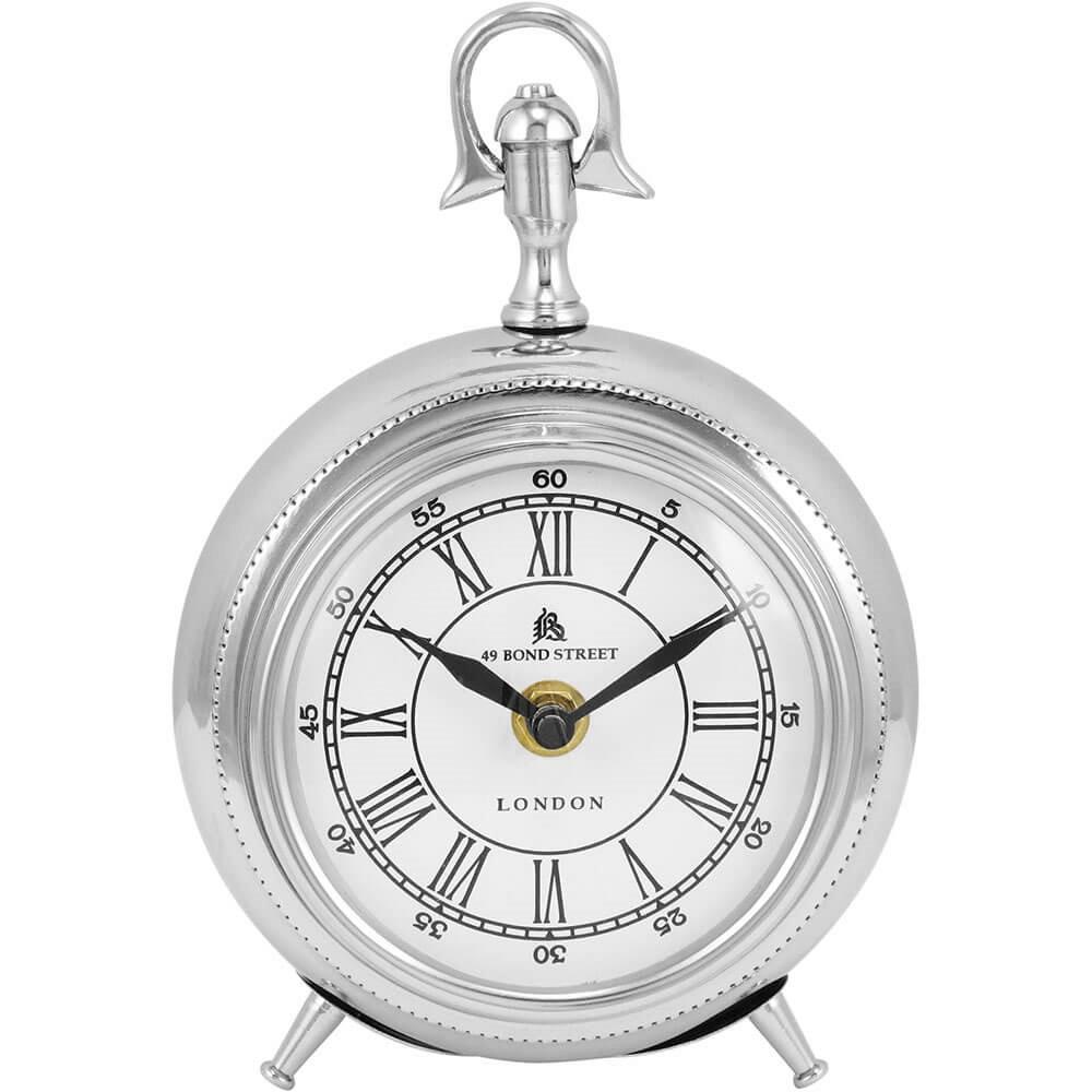 Relógio Decorativo de Mesa em Alumínio - Prata