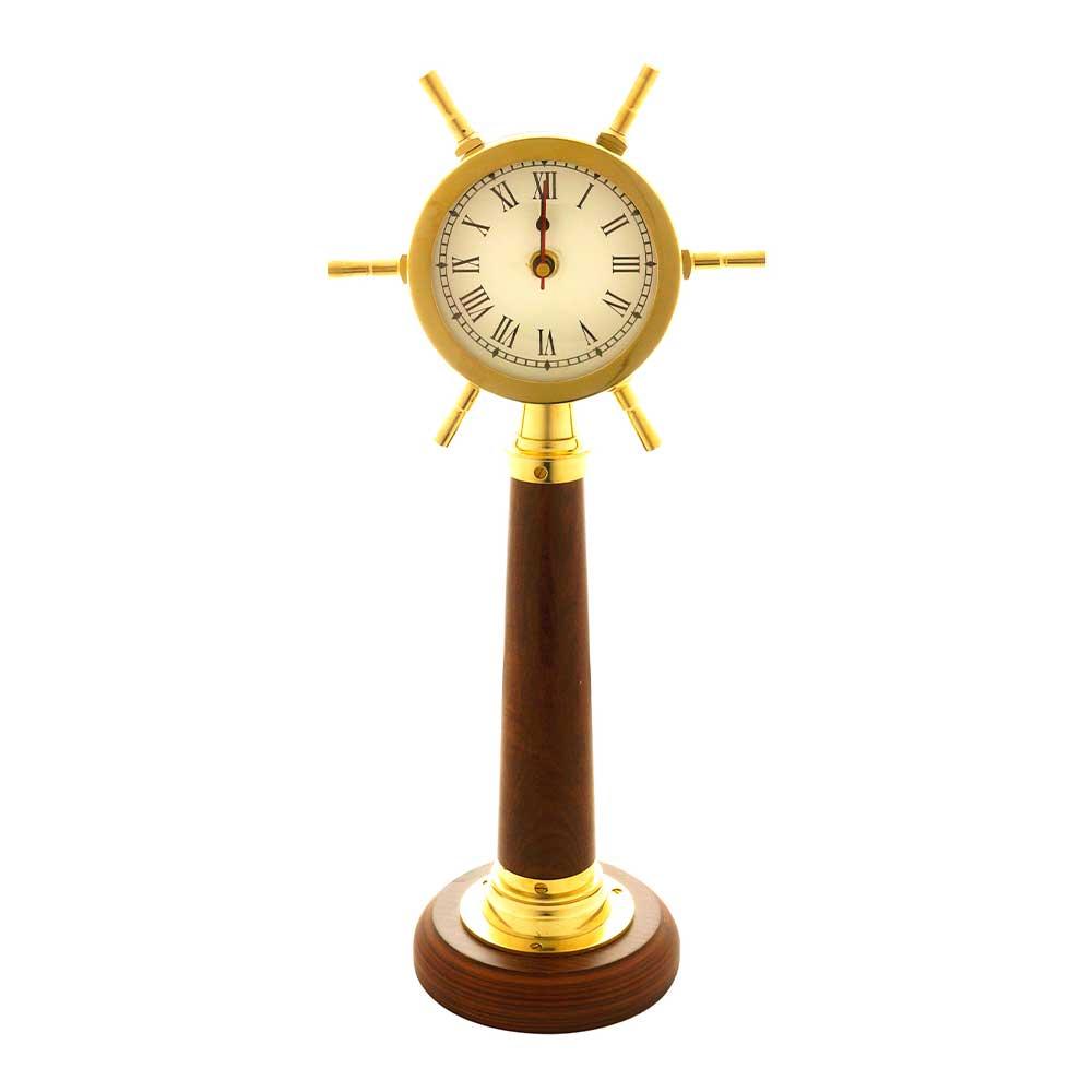 Relógio Decorativo em Metal e Madeira Dourado 43x19x13cm