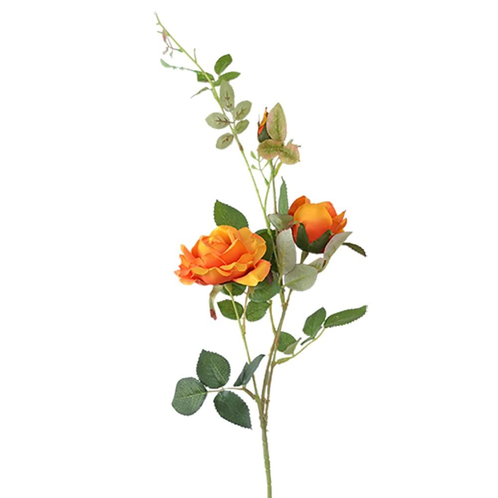 Rosa Artificial Cetim x3 Laranja 90cm