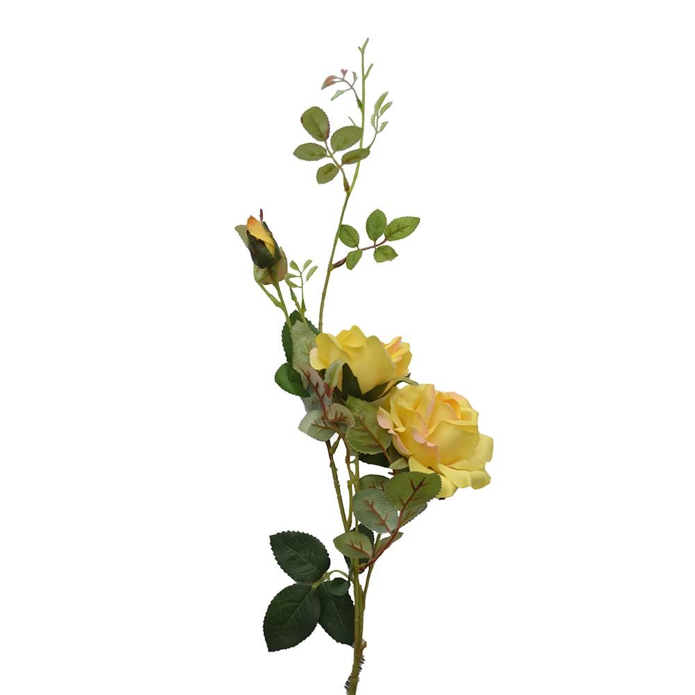 Rosa Artificial de Cetim Amarela x3 95cm
