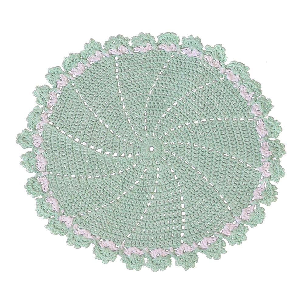 Sousplat Crochê Barroco Verde Claro 42cm