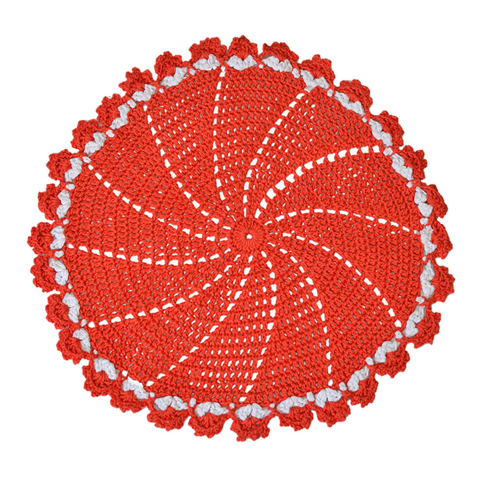 Jogo Americano Crochê Barroco Vermelho 42cm