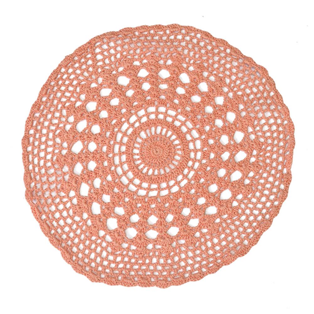 Lugar Americano Crochê Rosé 33cm