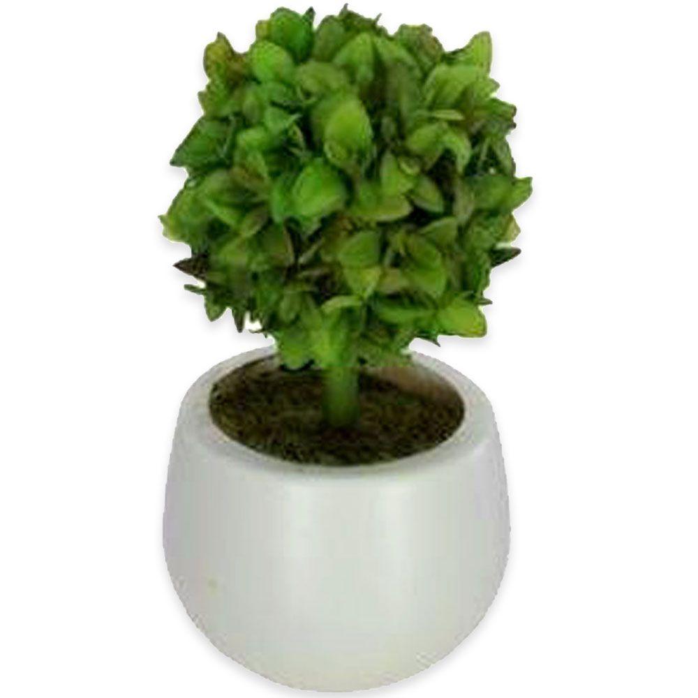 Suculenta Artificial em Vaso Branco Folhas 16cm