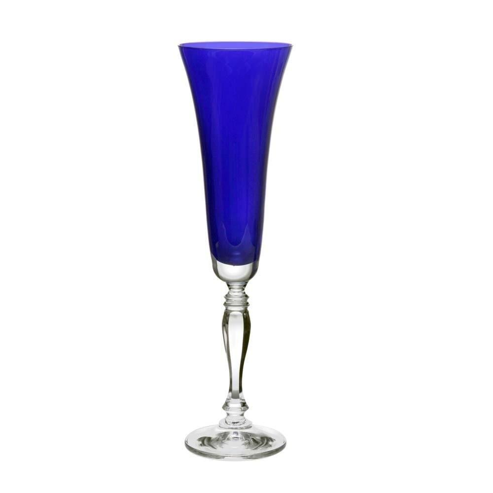 Taça de Champanhe Victoria Azul Cobalt de Cristal Ecológico 180ml