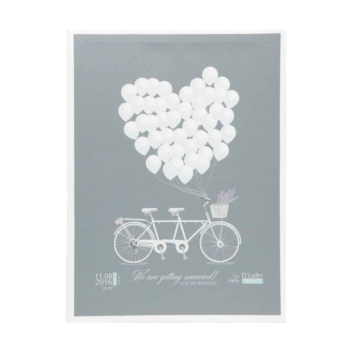 Tela Decorativa Bicicleta e Balões Cinza e Branca 30x40