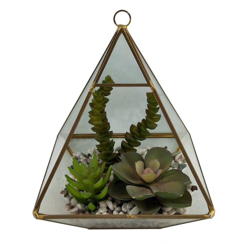 Terrário Pirâmide de Vidro e Metal Dourado com Suculentas Decorativas