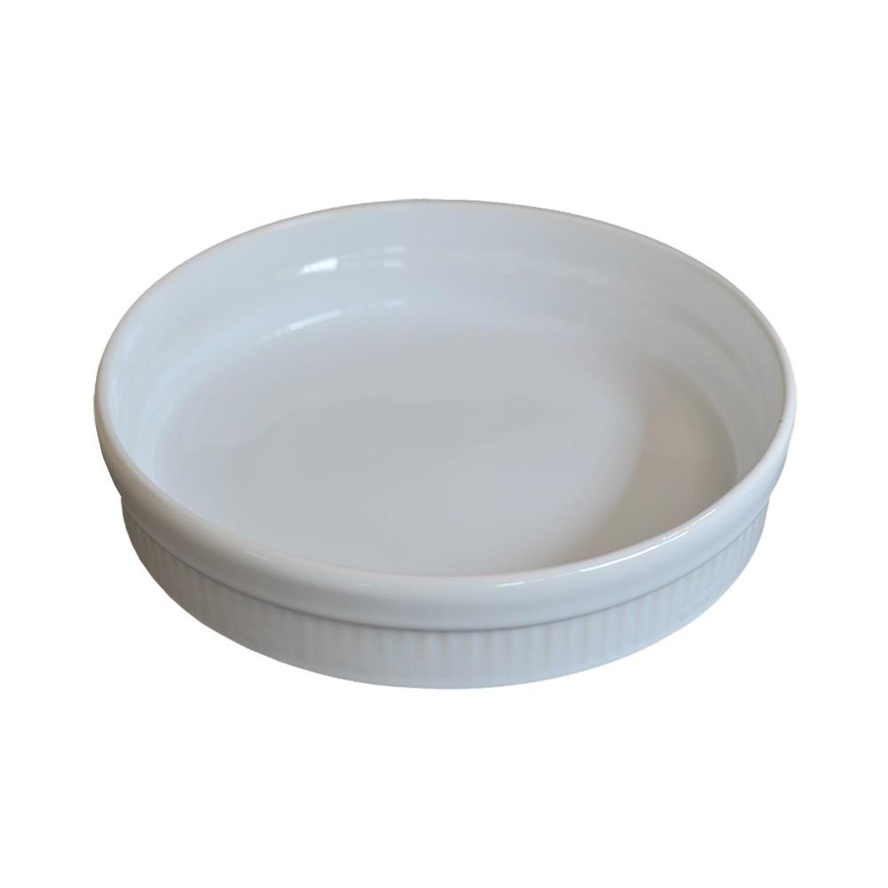 Travessa em Cerâmica Canelada Branca 23cm