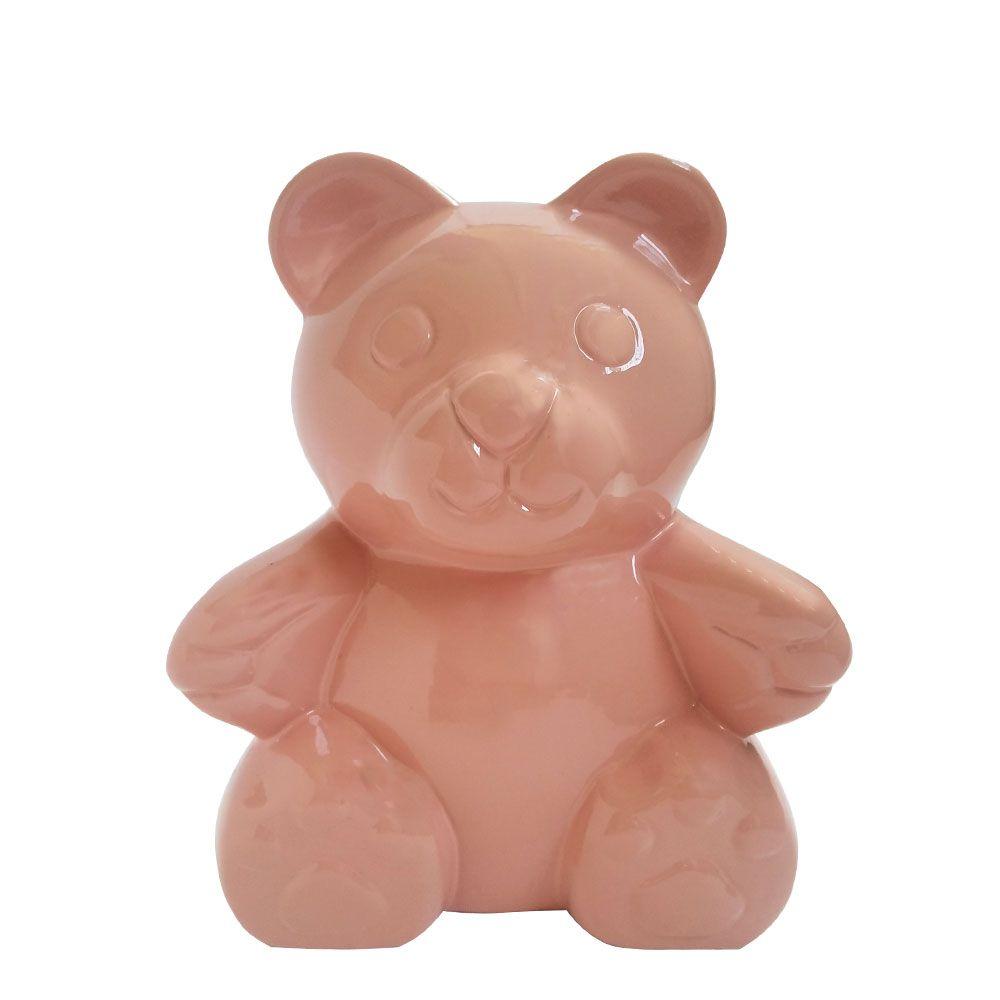 Urso Decorativo em Cerâmica Rosa