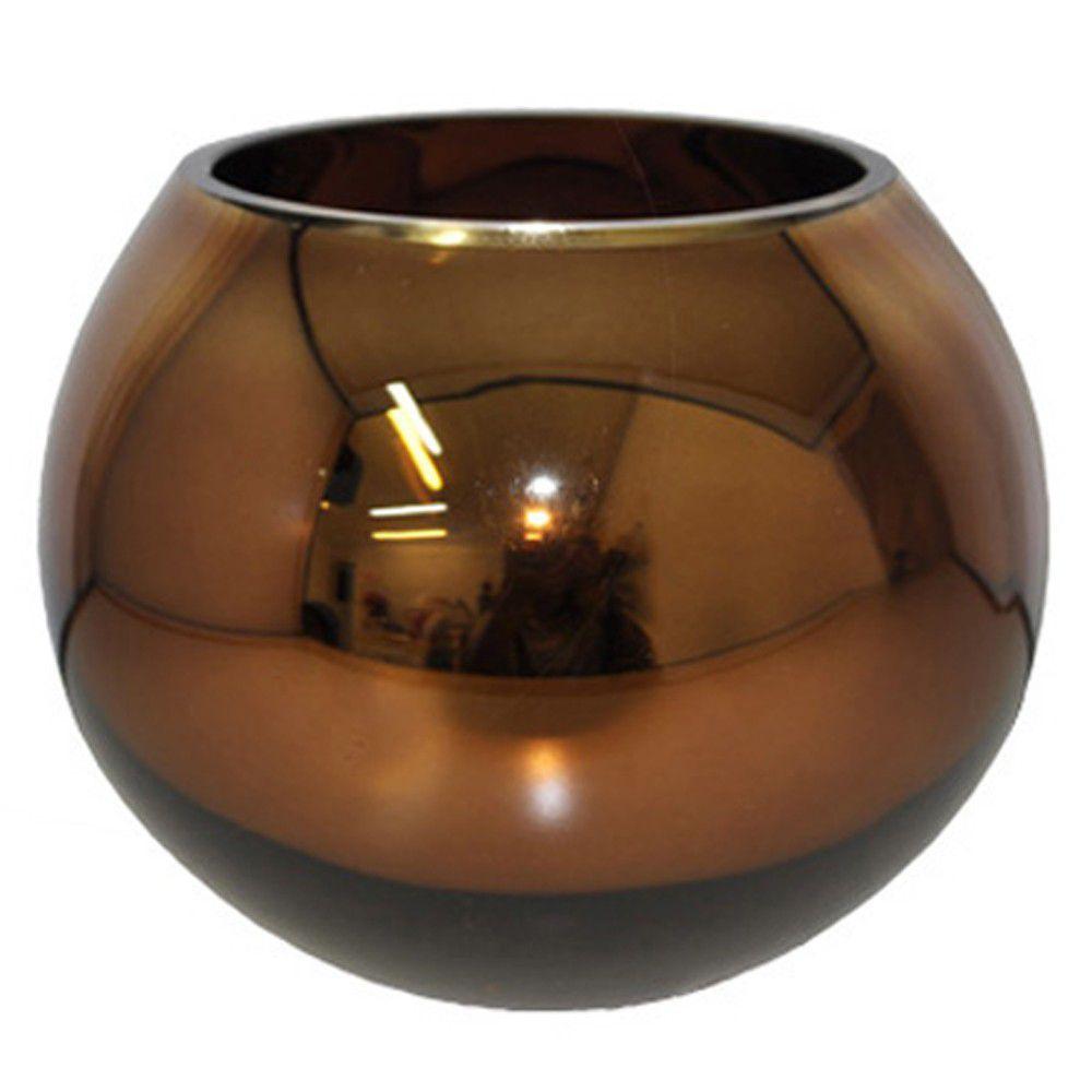 Vaso Aquário em Vidro Bronze 11cm