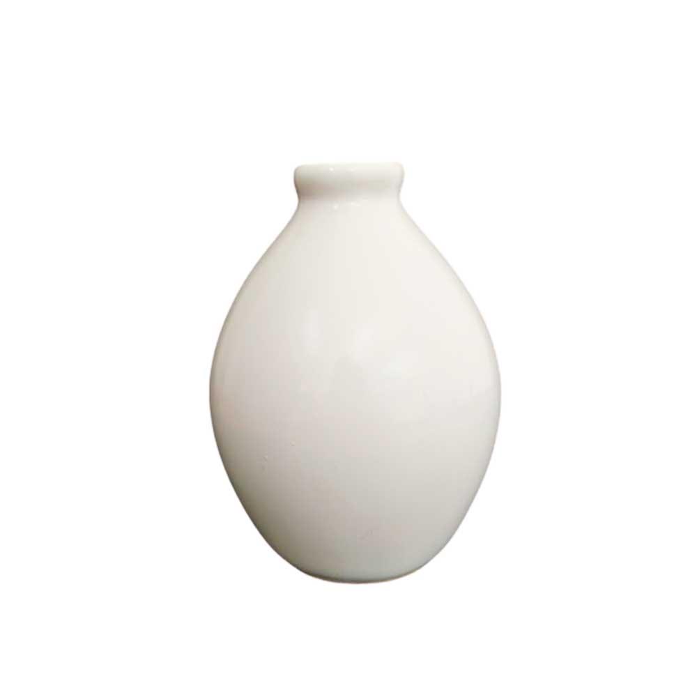 Vaso Bojudo Decorativo Branco em Cerâmica 16,5cm