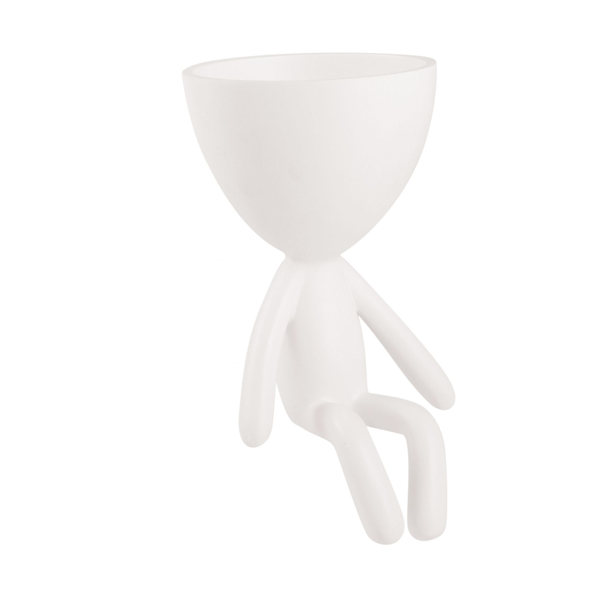 Vaso Boneco Em Poliresina Branco Sentado