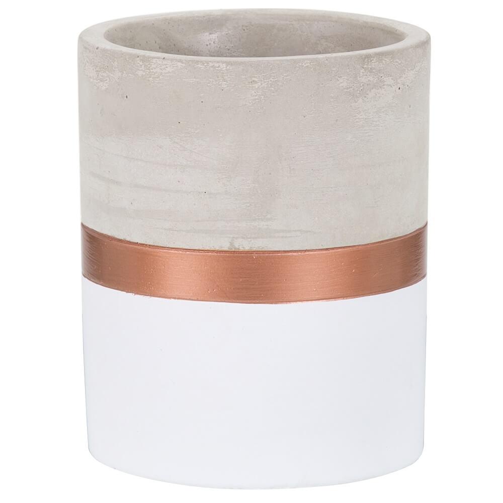 Vaso Branco e Cobre em Cimento M