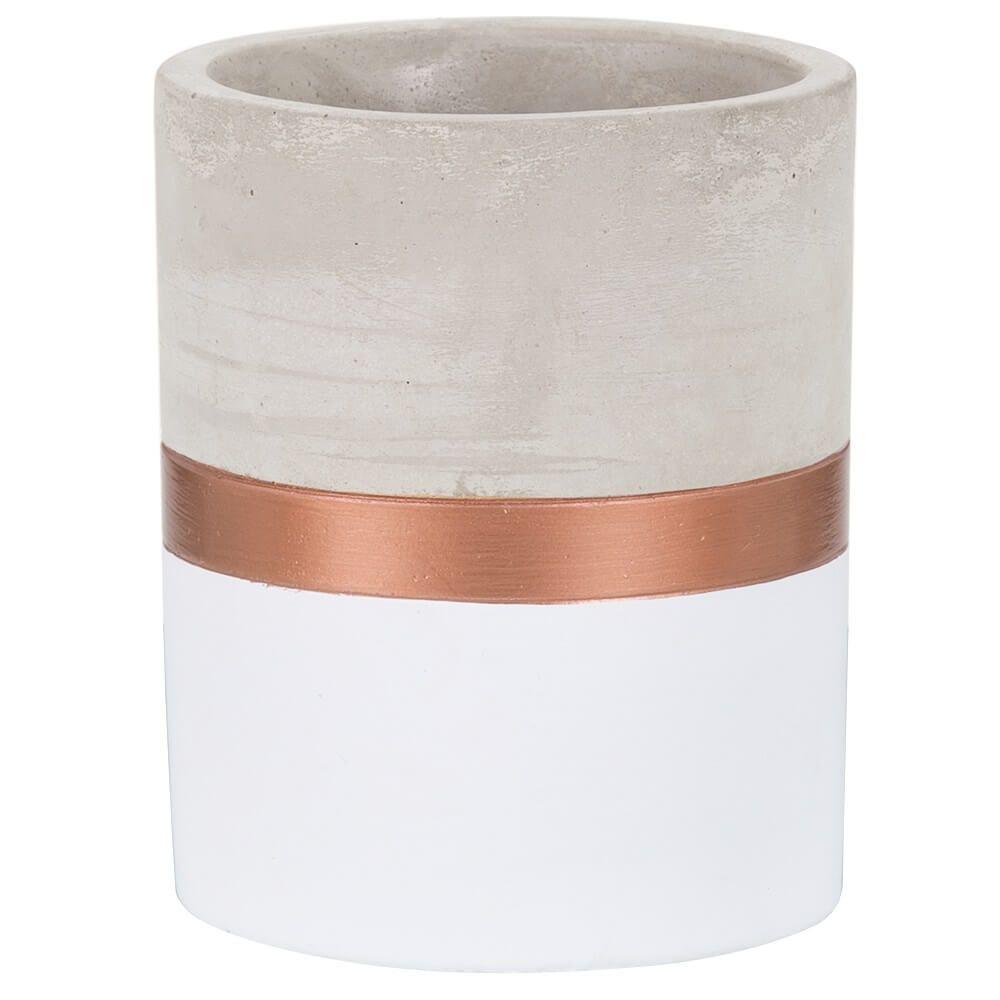 Vaso Branco e Cobre em Cimento P