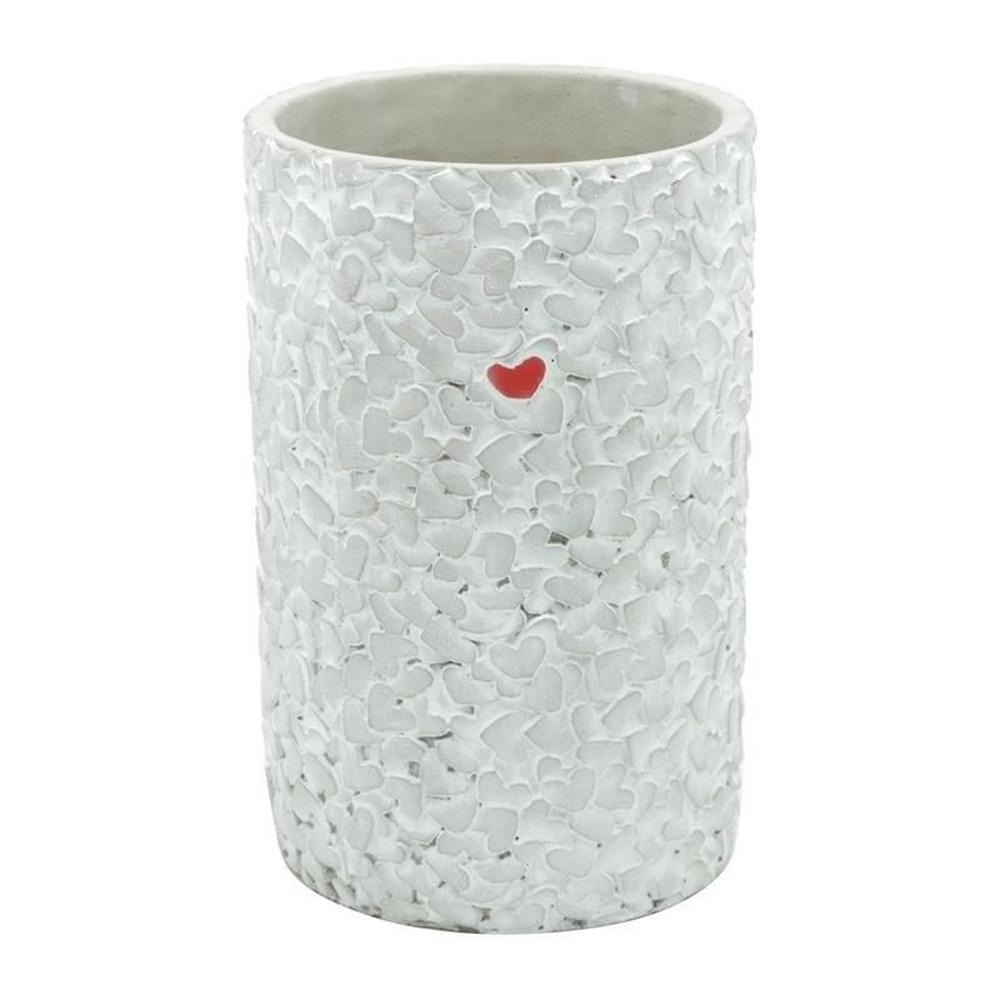 Vaso Concreto Long Embossed Little Heart Cinza 14x21,5cm