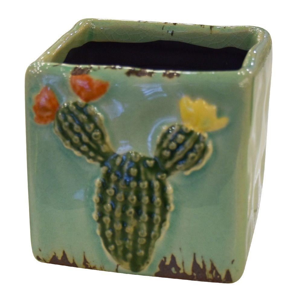 Vaso de Cerâmica Cacto Quadrado Verde