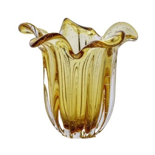 Vaso de Cristal Murano Âmbar 21cm - São Marcos