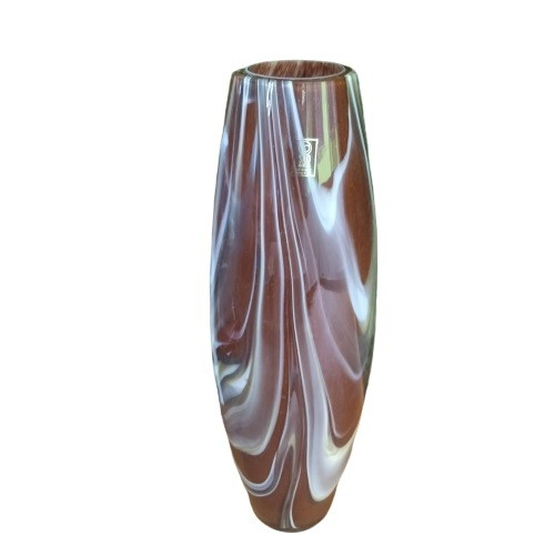 Vaso de Cristal Murano Cilindro Terracota 35cm - São Marcos