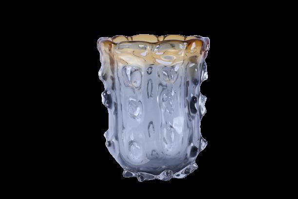 Vaso de Vidro Âmbar e Fumê 26cm