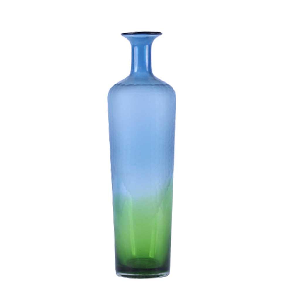 Vaso de Vidro Degradê Azul e Verde 49cm