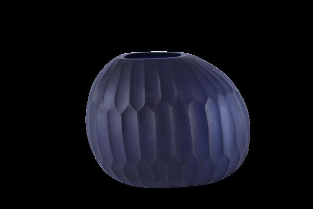 Vaso de Vidro Fosco Azul Escuro 19cm