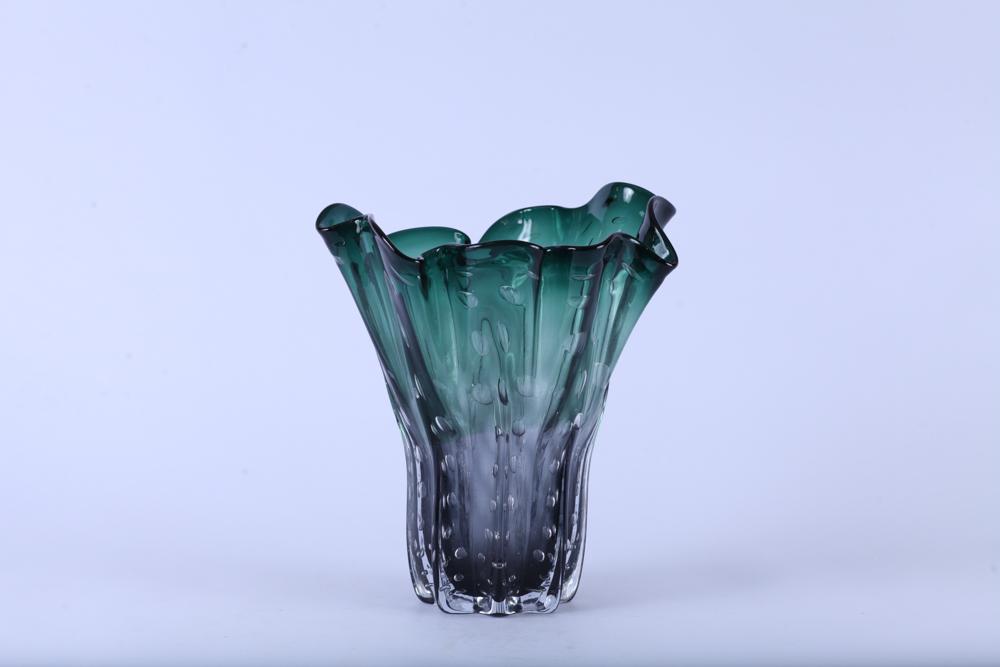 Vaso de Vidro Verde e Fumê 30cm