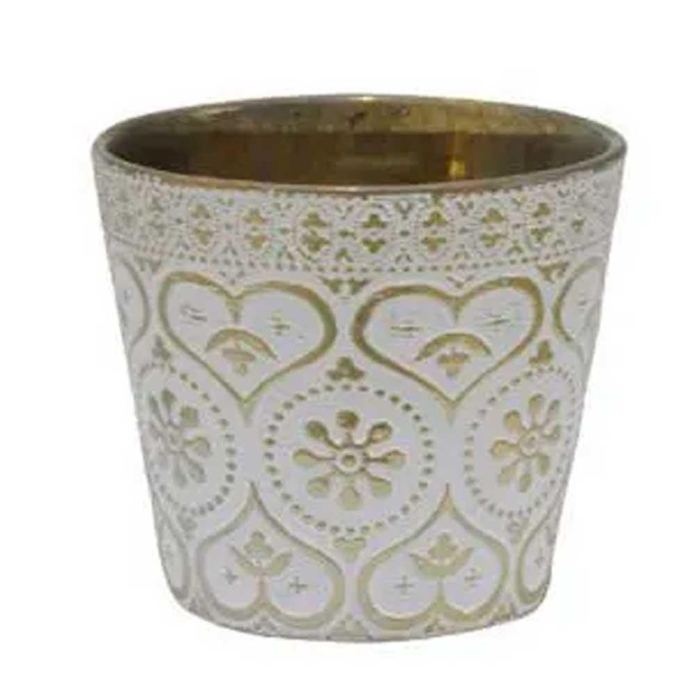 Vaso Decor Cerâmica 11cm Branco com Dourado