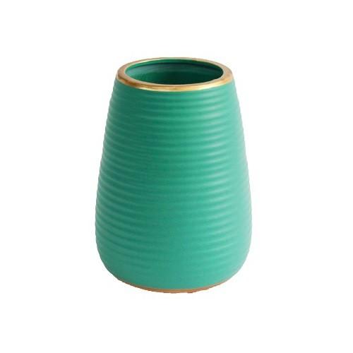 Vaso Decorativo Canelado Turquesa em Cerâmica 20cm