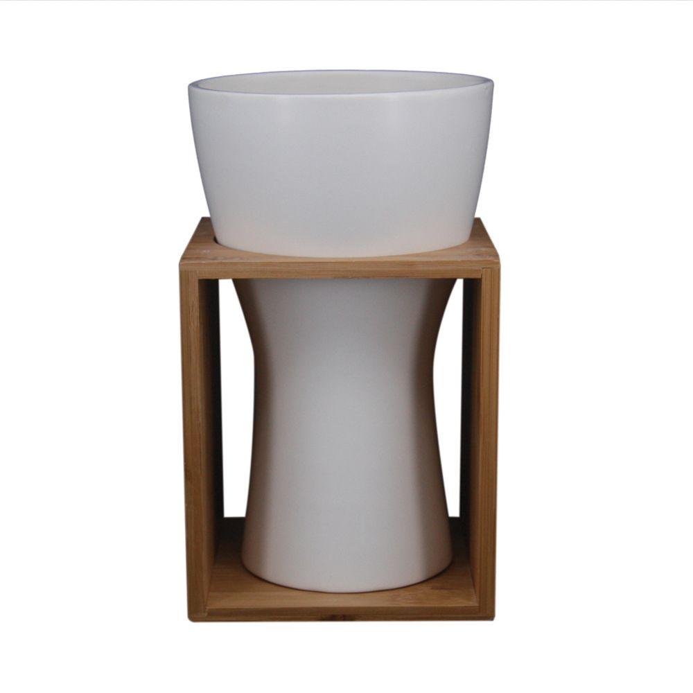 Vaso Decorativo de Cerâmica Branco e Bambu 23cm