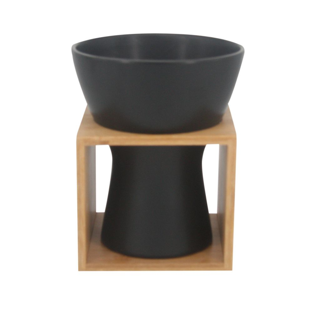 Vaso Decorativo de Cerâmica Preto e Bambu 19cm