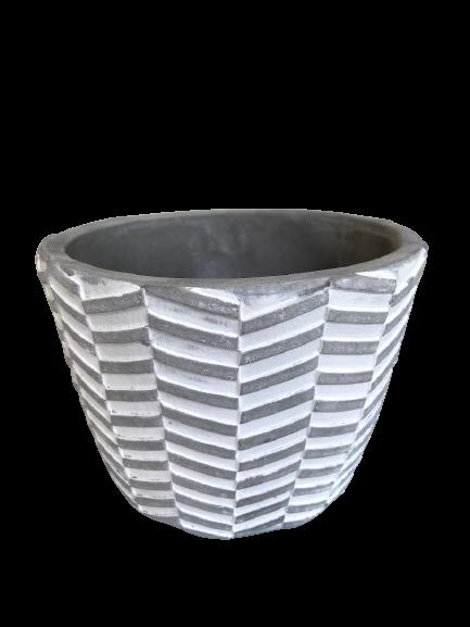 Vaso Decorativo de Cimento Branco Geométrico 11cm