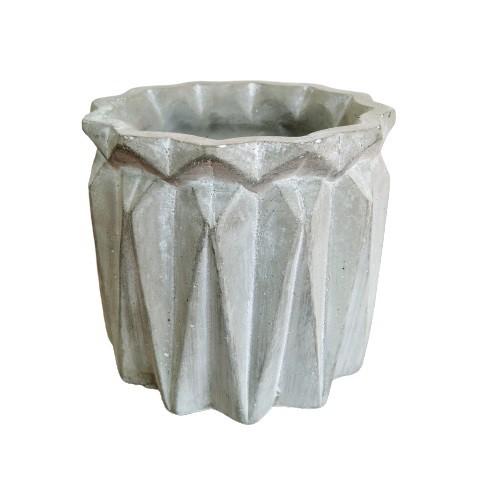 Vaso Decorativo de Cimento Geométrico com Borda