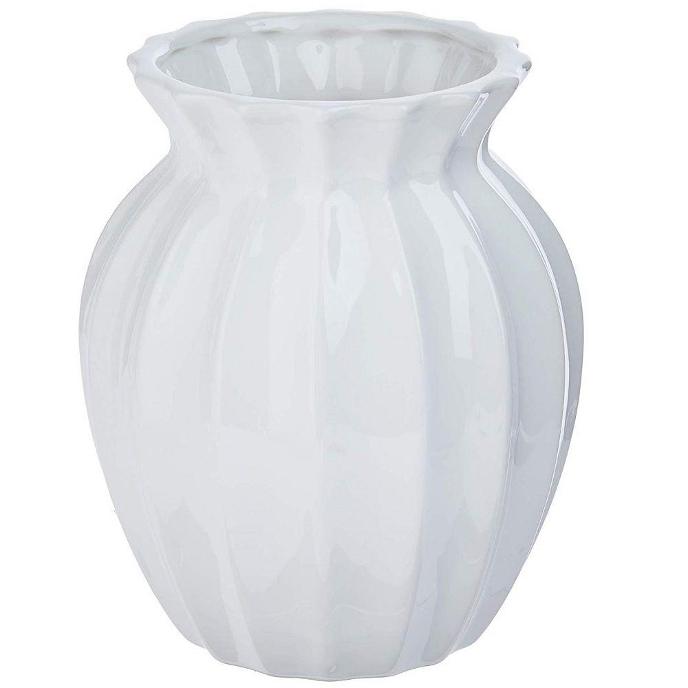 Vaso Decorativo em Cerâmica Branco 16cm - Anita