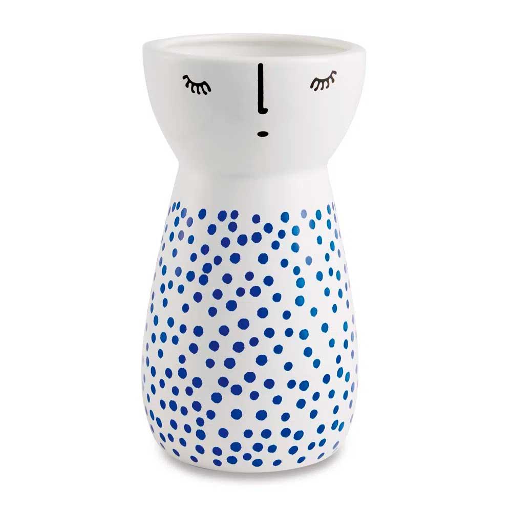 Vaso Decorativo em Cerâmica Branco com Azul Poá