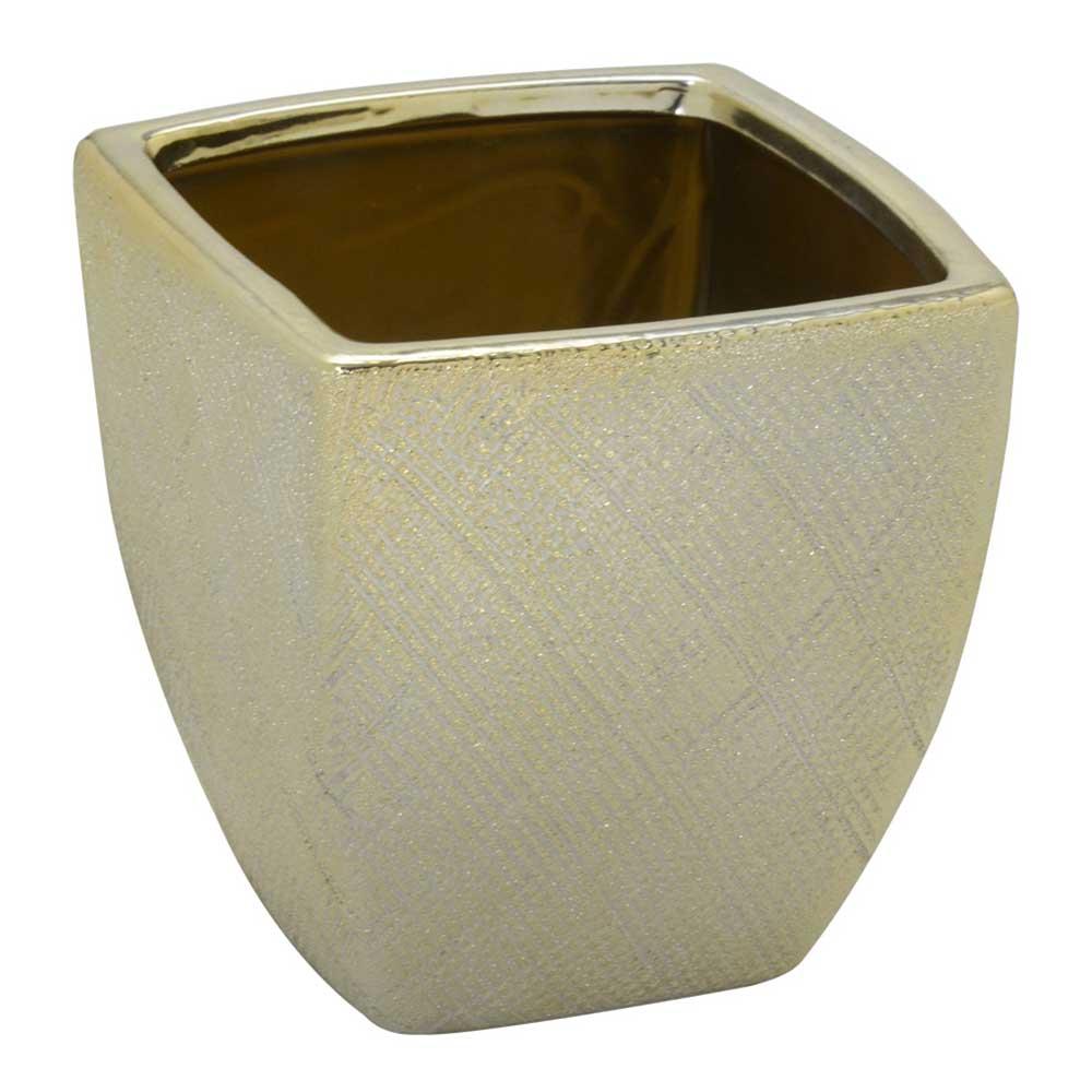 Vaso Decorativo em Cerâmica Dourado 14,5cm
