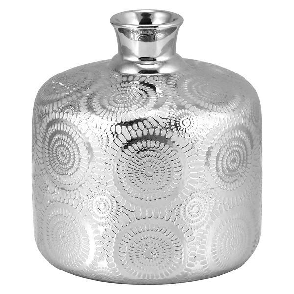 Vaso Decorativo em Cerâmica Prata 20cm