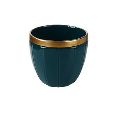 Vaso Decorativo em Cerâmica Verde com Borda Dourada 12cm