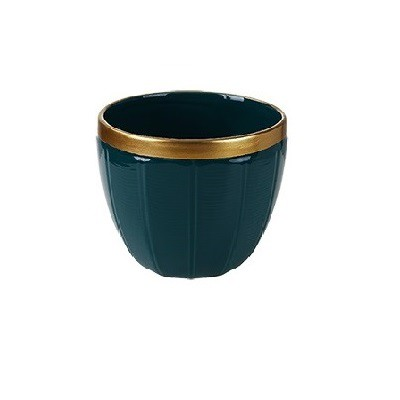 Vaso Decorativo em Cerâmica Verde com Borda Dourada 9cm
