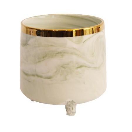 Vaso Decorativo em Cerâmica Verde Marmorizado 12cm