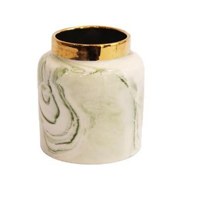 Vaso Decorativo em Cerâmica Verde Marmorizado 9cm