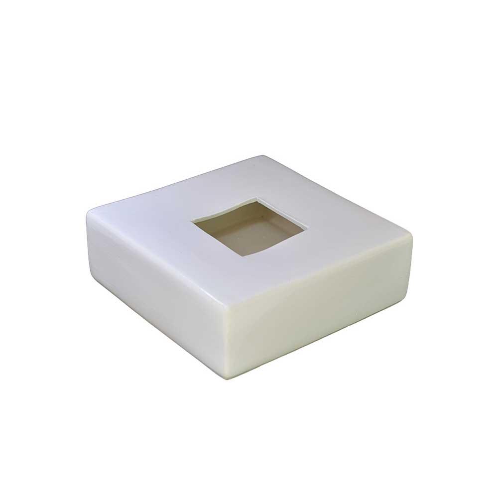 Vaso em Cerâmica Quadrado Ikebana Branco 19cm