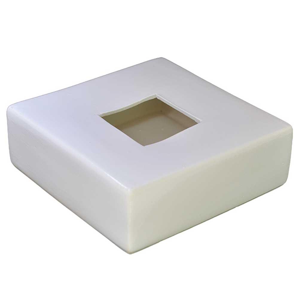 Vaso em Cerâmica Quadrado Ikebana Branco 24cm