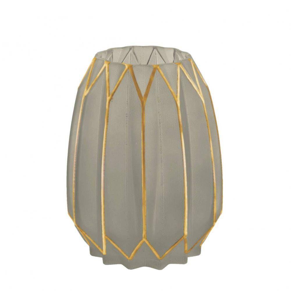 Vaso em Vidro Fendi e Dourado 19x14cm