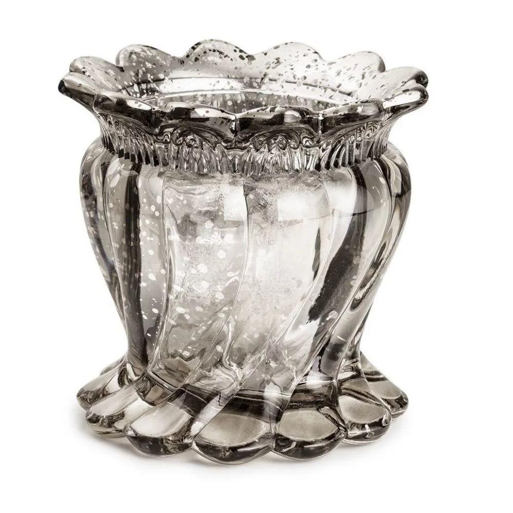 Vaso em Vidro Prata Envelhecido Médio