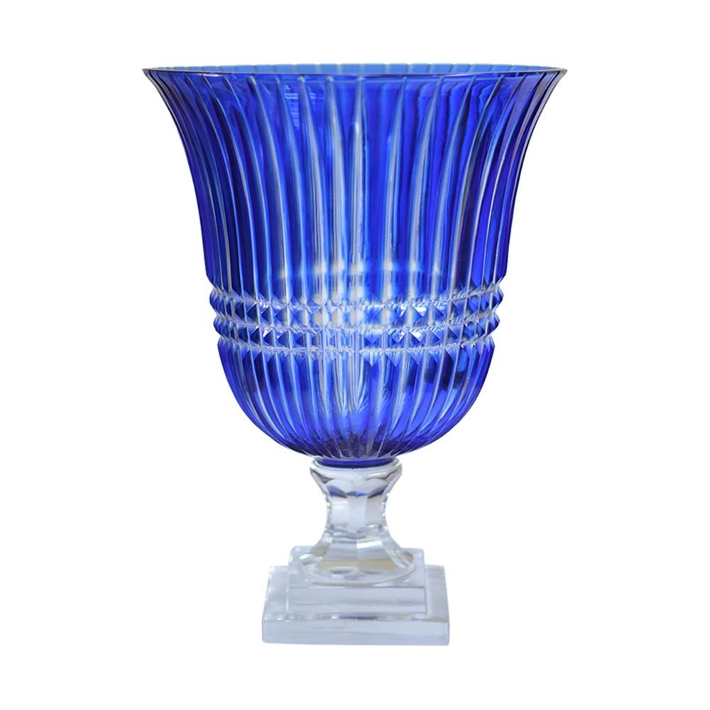 Vaso Lapidado de Cristal Azul