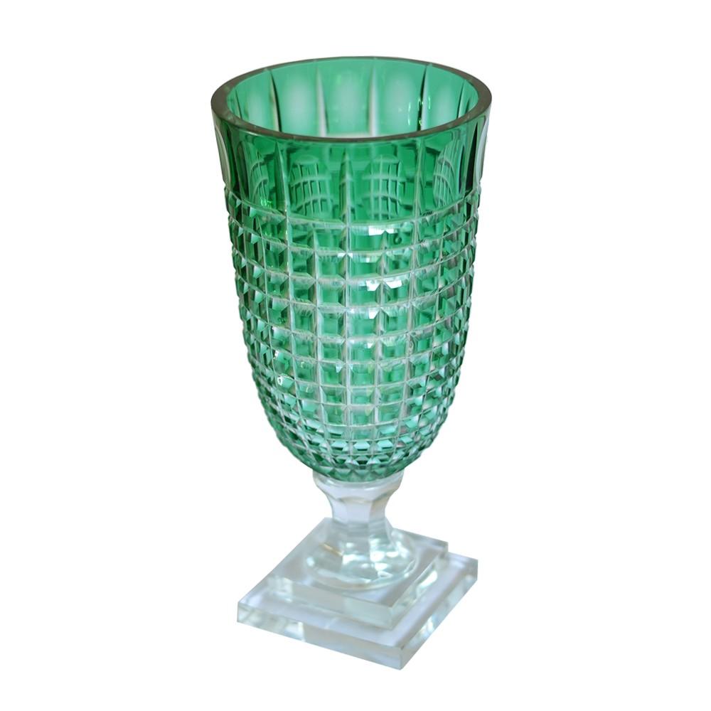 Vaso Lapidado de Cristal Verde