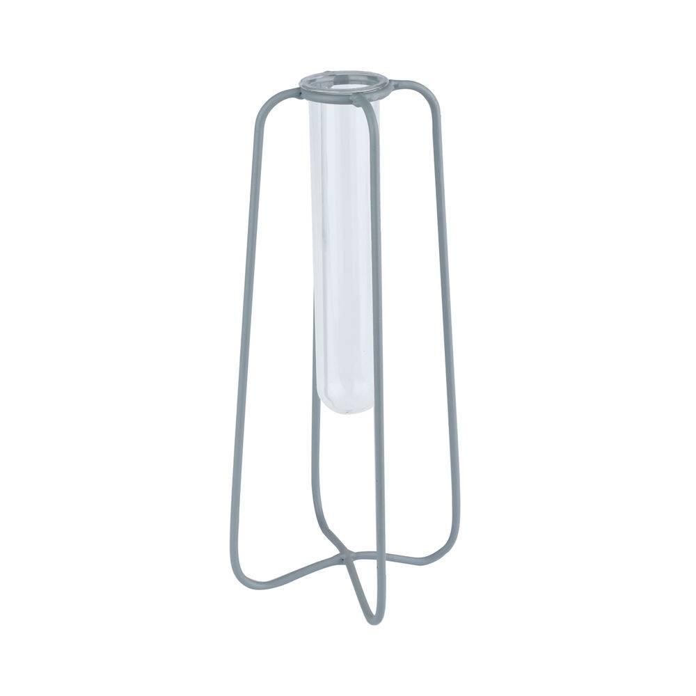 Vaso Metal/Vidro Aramado Cinza 23cm