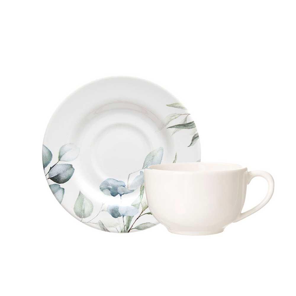 Xicara de Chá com Pires de Cerâmica Aquarelle Eucalipto 283ml